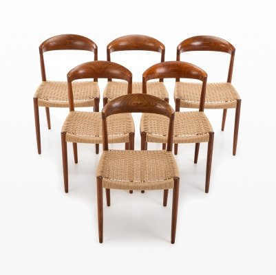 Set of 6 dining chairs by JCA Jensen for Knud Andersen, 1960s