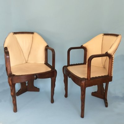 Pair of Dutch Art Deco Amsterdam School Tub Chairs / Armchairs by 't Woonhuys