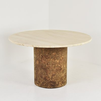 Dining table in travertine & cork, 1960's