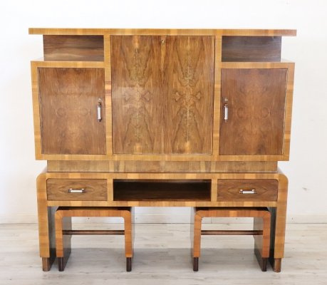 Art Déco Large Bar Cabinet with Two Stools