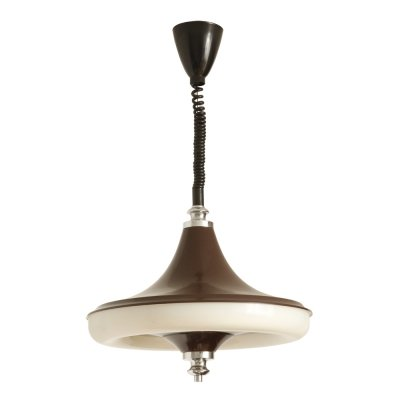 Chocolate-colored reclining space age ceiling lamp by Massive, Belgium 1970s