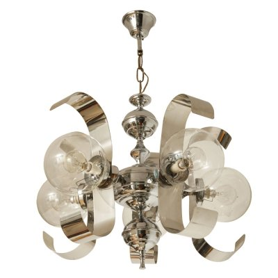 Five-point chrome & metal chandelier with glass shades, Spain 1970s