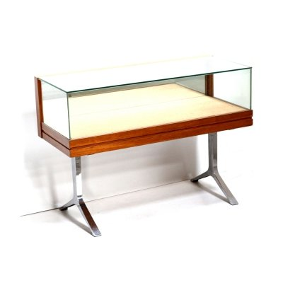 Vintage counter / showcase of glass, chrome & rosewood made, 1960s