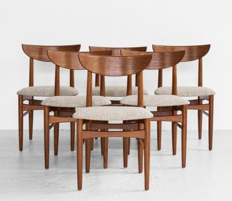 Midcentury Danish set of 6 dining chairs in teak by Dyrlund, 1960s