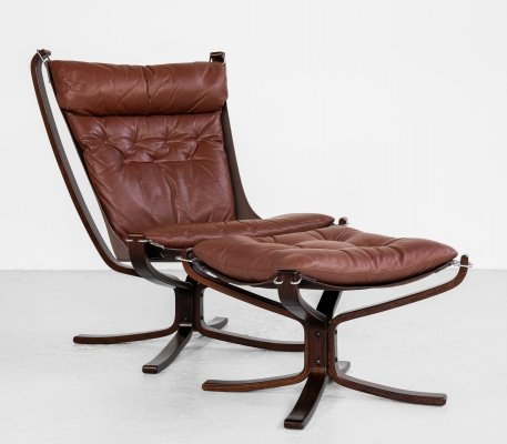 Falcon Chair & Ottoman in cognac leather by Sigurd Ressell for Vatne Möbler