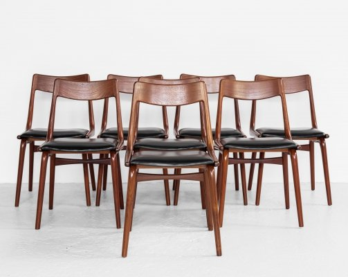 Midcentury Danish set of 8 Boomerang chairs by Alfred Christensen for Slagelse