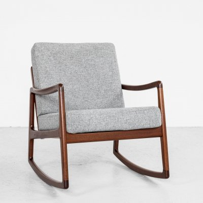 Midcentury Danish rocking chair in teak by Ole Wanscher for France & Søn, 1960s