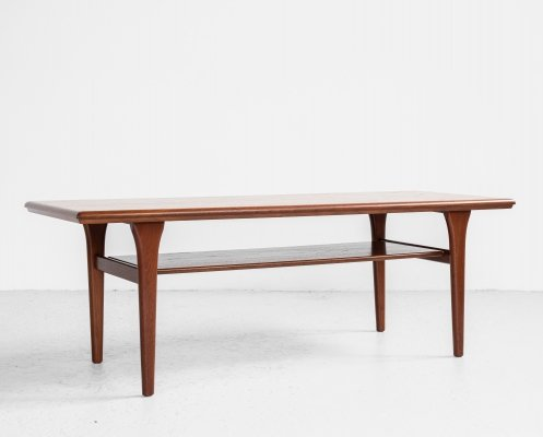 Midcentury Danish coffee table in teak with 2 levels, 1960s