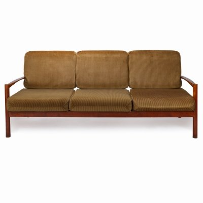 Vintage 3-seater sofa in wood & fabric, 1970