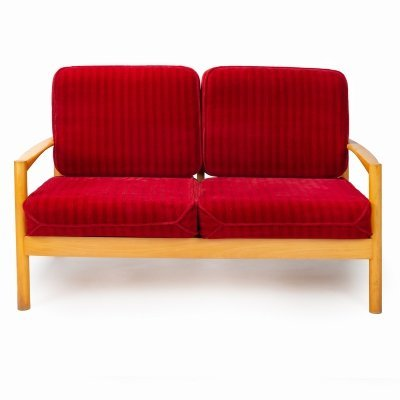 Vintage 2-seater sofa in wood & fabric, 1970