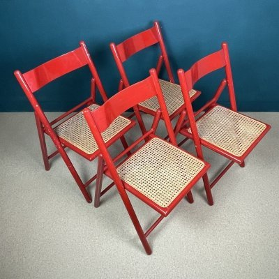 Set of 4 mid-century red folding dining chairs, Italy 1980s