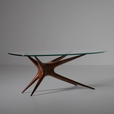Sculptural solid Rosewood Coffee table, Italy 1950s