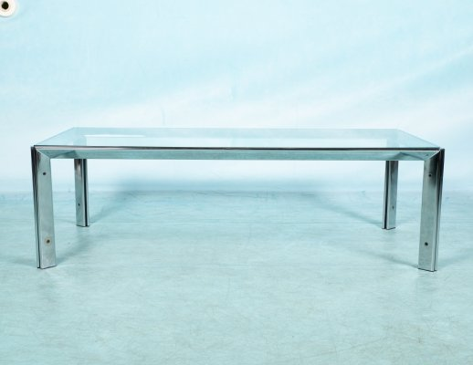 Vintage coffee table in glass & chrome, 1970s