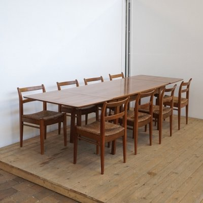 Jos De Mey extendable dining table & chairs, 1960s
