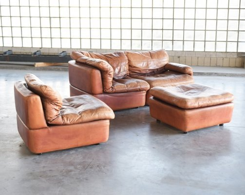 Patinated brown/cognac leather modular sofa by Rolf Benz, 1970s