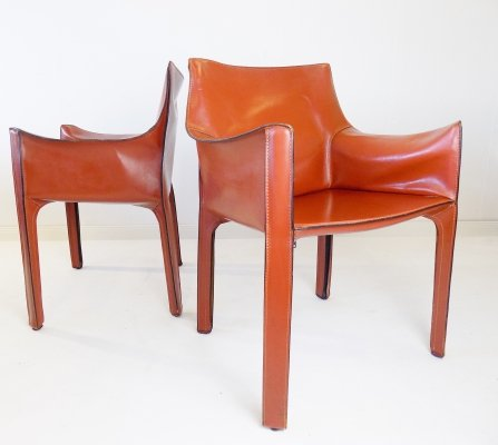 Cassina CAB 413 set of 2 leather chairs by Mario Bellini