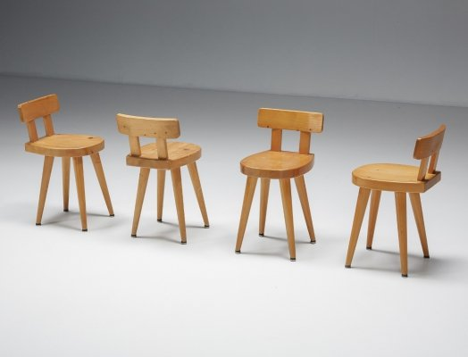 Set of Dining chair by Charlotte Perriand made for Les Arcs, 1960's