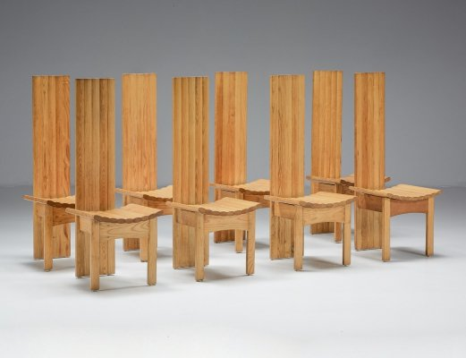 Set of Wooden High Back Dining Chairs, 1950's