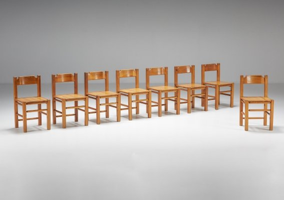 Set of 8 Pine Dining Chairs, 1960's