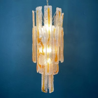 Mid-century large Murano glass chandelier by Mazzega, Italy 1970s