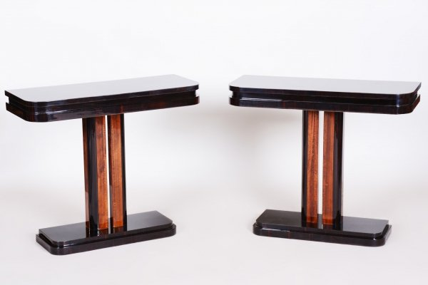 Pair of Unique French Artdeco Bed-Side Tables in High Gloss & Makasar, 1920s