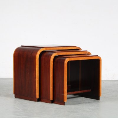 1930s set of two-toned nesting tables from the Netherlands