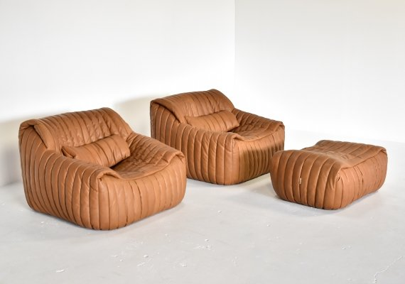 Pair of lounge chairs with ottoman by Annie Hieronimus for Cinna, 1970s