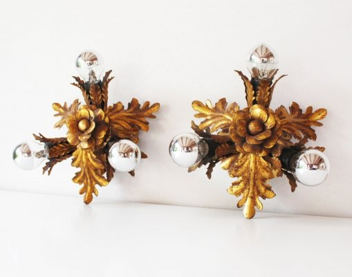 Set of two gilt 'Florentine' Lights by Banci Firenze, 1960's Italy