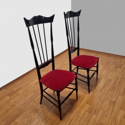 Vintage High Back Chiavarine Chairs, Italy 1950s