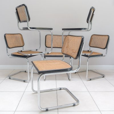 Set of 6 Cesca B32 Chairs by Marcel Breuer for Gavina, 1970s