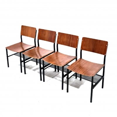 Minimalist industrial plywood dining chairs, Netherlands 1970s
