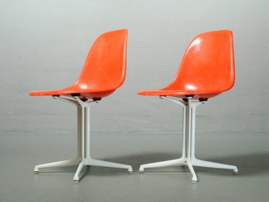 Coral Red Fiberglass La Fonda Side Chair by Charles Eames for Vitra / Herman Miller, 1970s