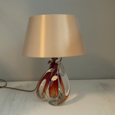 Murano 60s Crystal lamp base in Red