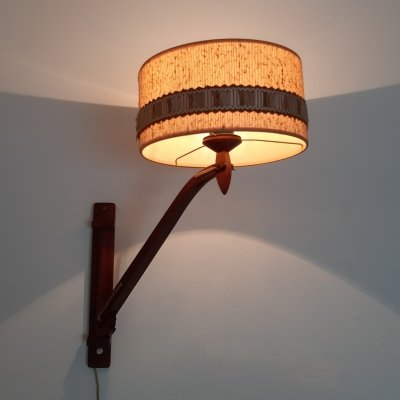 T. Zweers wooden wall lamp, 1950s