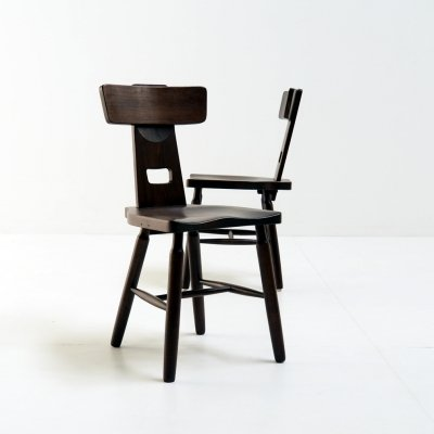 Pair of brutalist side or dining chairs in beech wood, 1960s