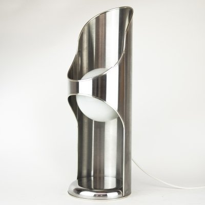 Chrome Cylindrical Structure Desk Lamp with White Globe Ball, 1960s