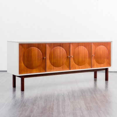 Mid-Century 1970s white sideboard with mahogany fronts