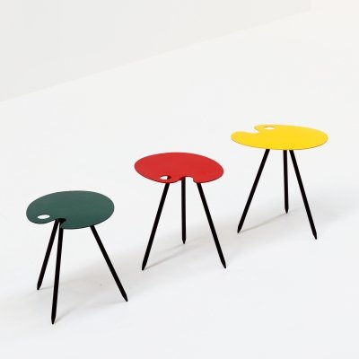 3 x side table by Lucien de Roeck for Bois Manu, 1950s