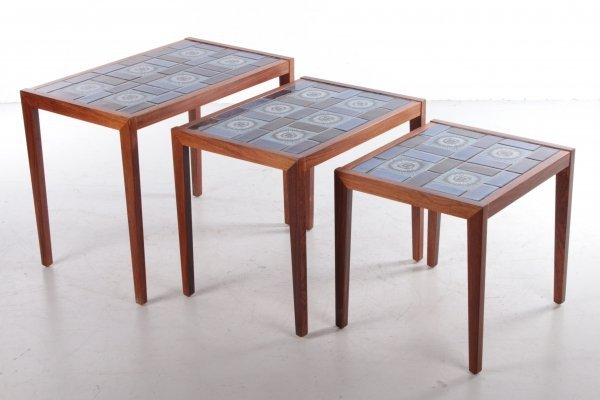 Vintage Rosewood Nesting Tables with Ceramic Tabletop, 1960s