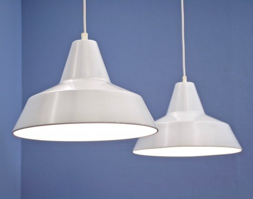 Set of 2 Danish hanging lamps in white by Nordisk Solar, 1970s