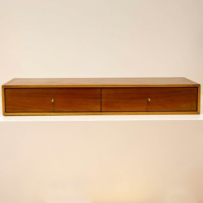 Small walnut chest of two drawers, 1960s