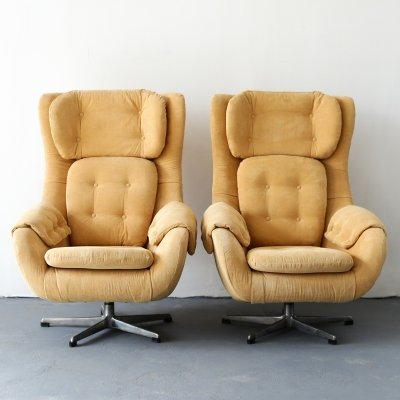 Pair of vintage swivel chairs by UP Závody, 1970s