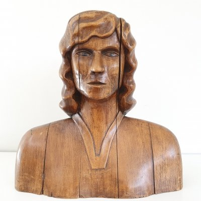 Large solid wood Bust, 70s