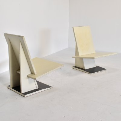 Pair of exceptional Dutch modernist lounge chairs by unknown maker, 1960s