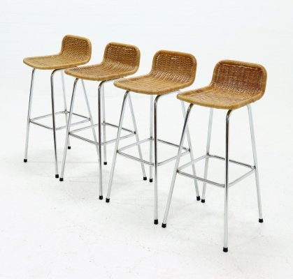 Set of 4 Chromed Steel & Rattan Barstools by Rohé Noordwolde, 1960s