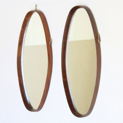 Set of two 1960s vintage oval mirror in Scandinavian style