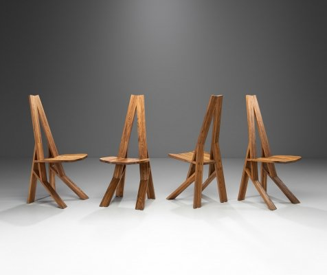 Rare Pierre Chapo 'S42' Chairs in Elm, France 1970s