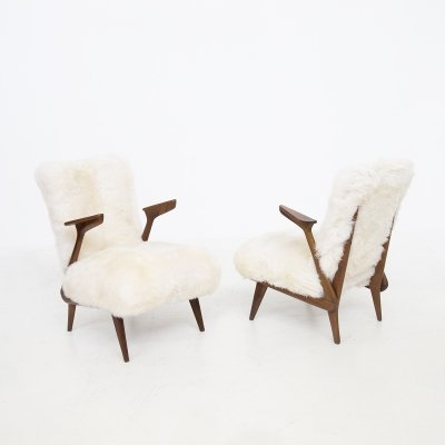Pair of Italian Fur Armchairs by Giuseppe Scapinelli