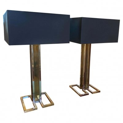 1970s set of Two Chrome & Brass Square Table Lamp by Banci Firenze
