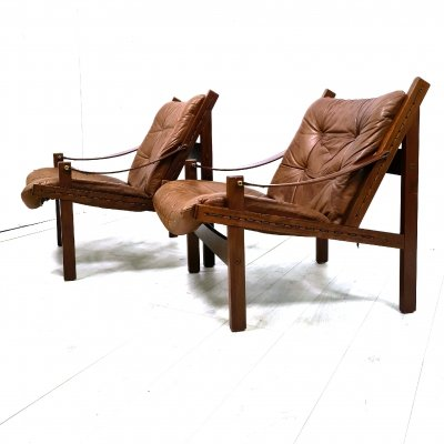 Set of 2 leather Hunter chairs by Torbjørn Afdal for Bruksbo, Norway 1960s